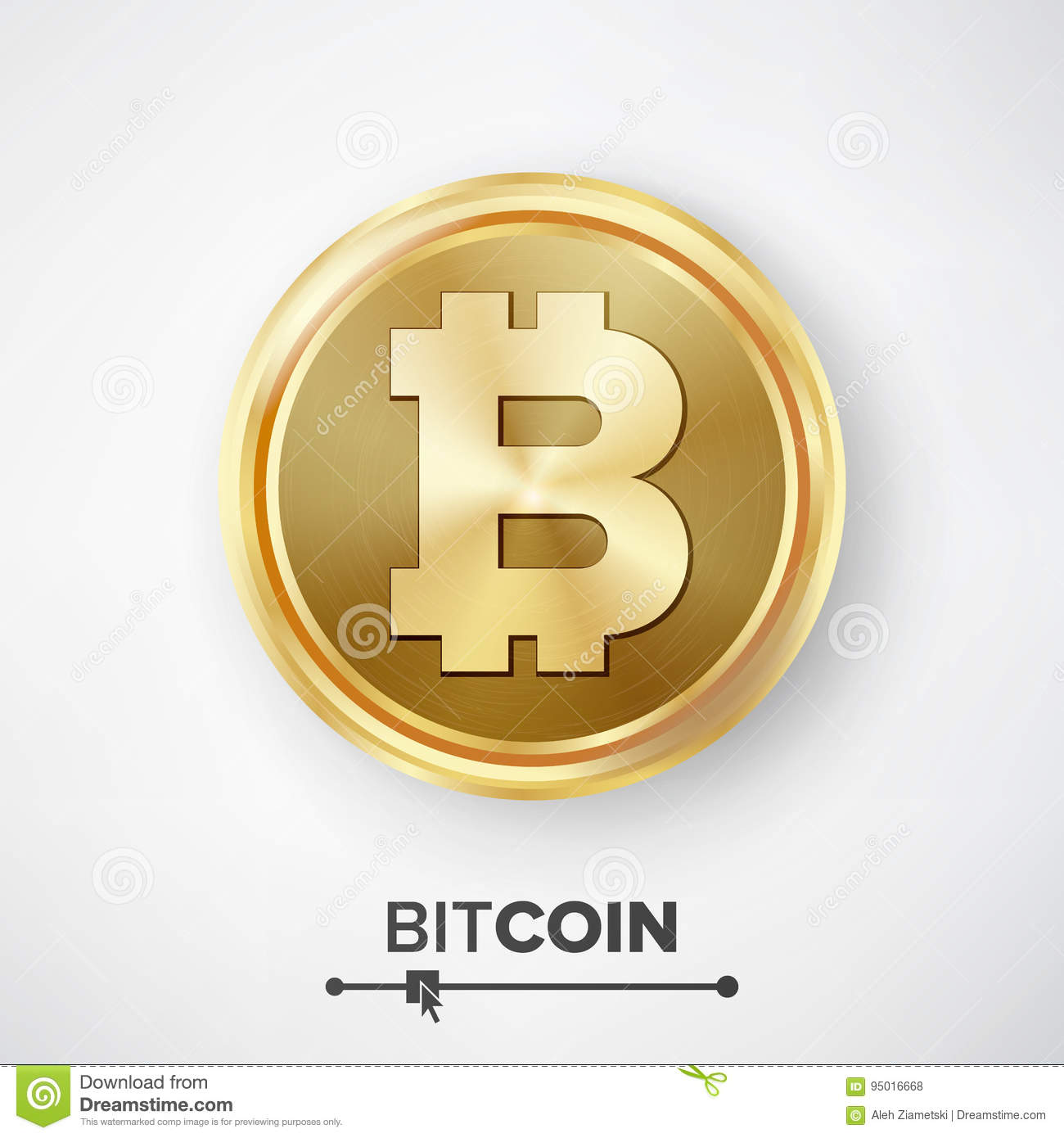 Bitcoin Gold Coin Vector Realistic Crypto Currency Money And Finance Sign Illustration Digital