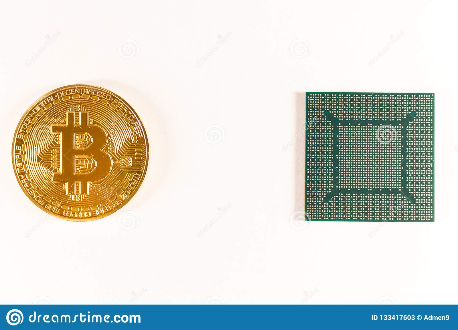 Bitcoin gold coin and video chip. Crypto currency