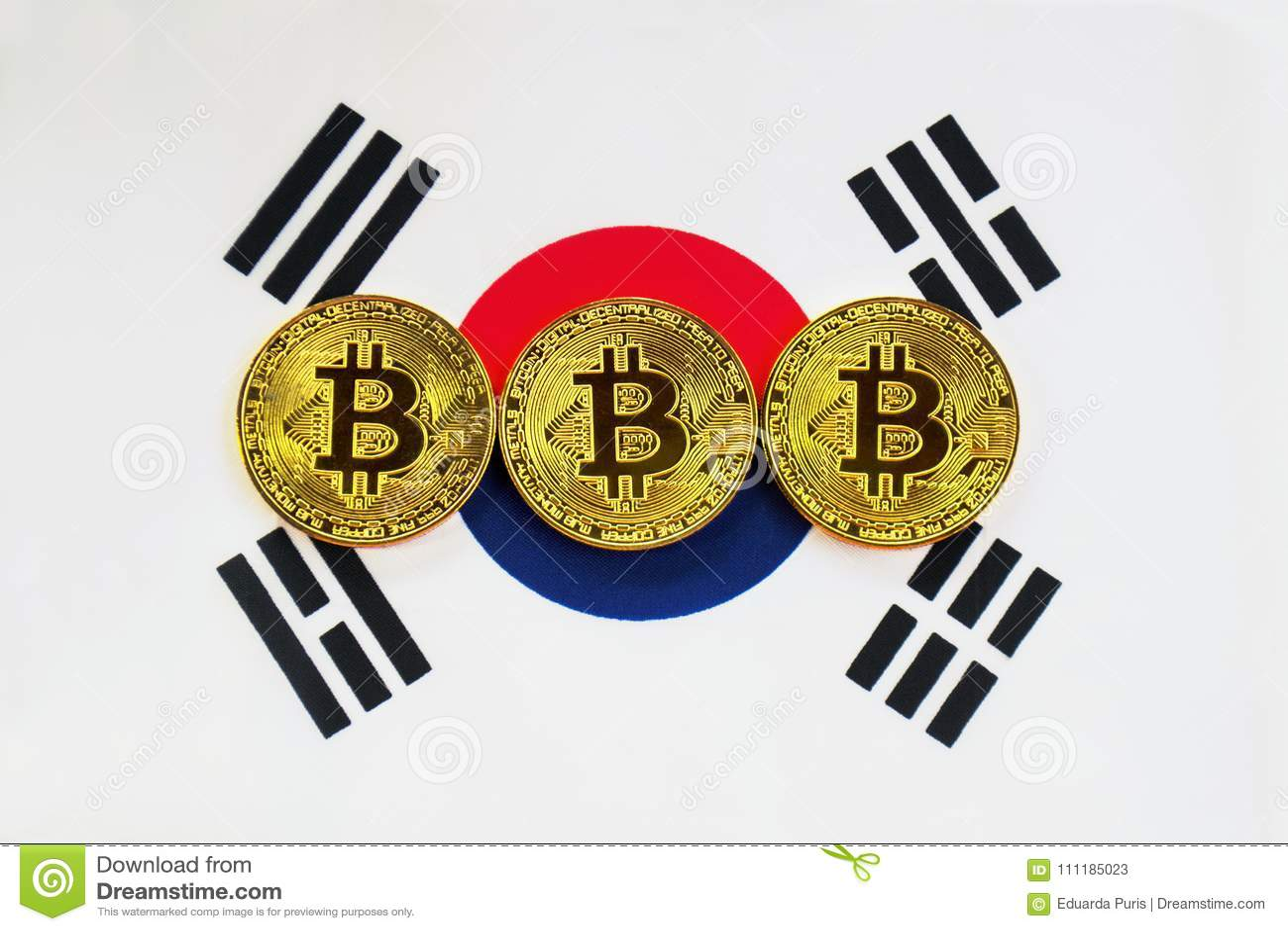 Bitcoin on the Background South Korea Flag