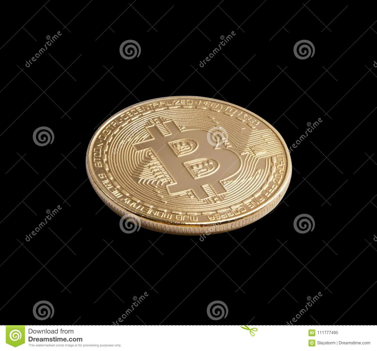 Bitcoin. Golden bitcoin isolated on black background