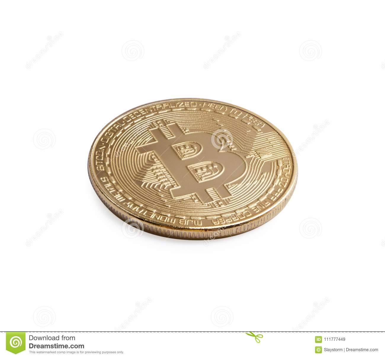 Bitcoin. Golden bitcoin isolated on white background