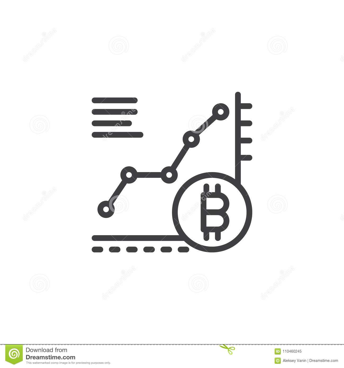Bitcoin Growth Chart Outline Icon Stock Vector Illustration Of