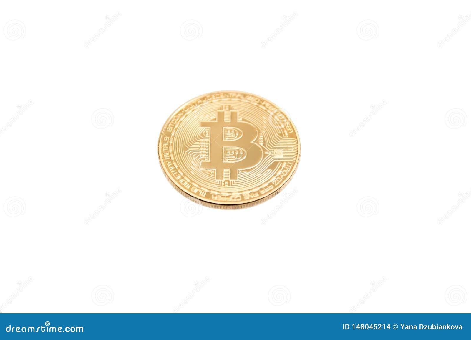 Bitcoin guld- mynt på vit bakgrund