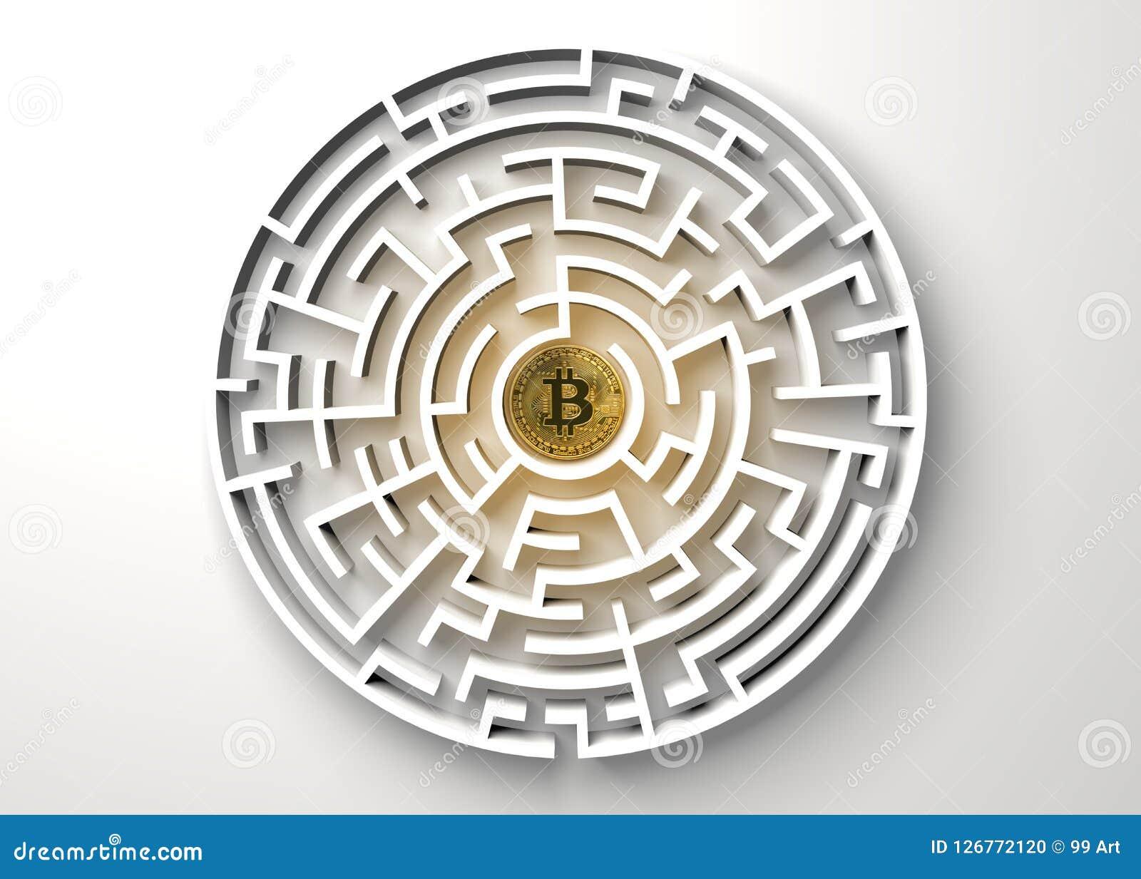 Bitcoin i den centrala punkten av labyrintsikten från över