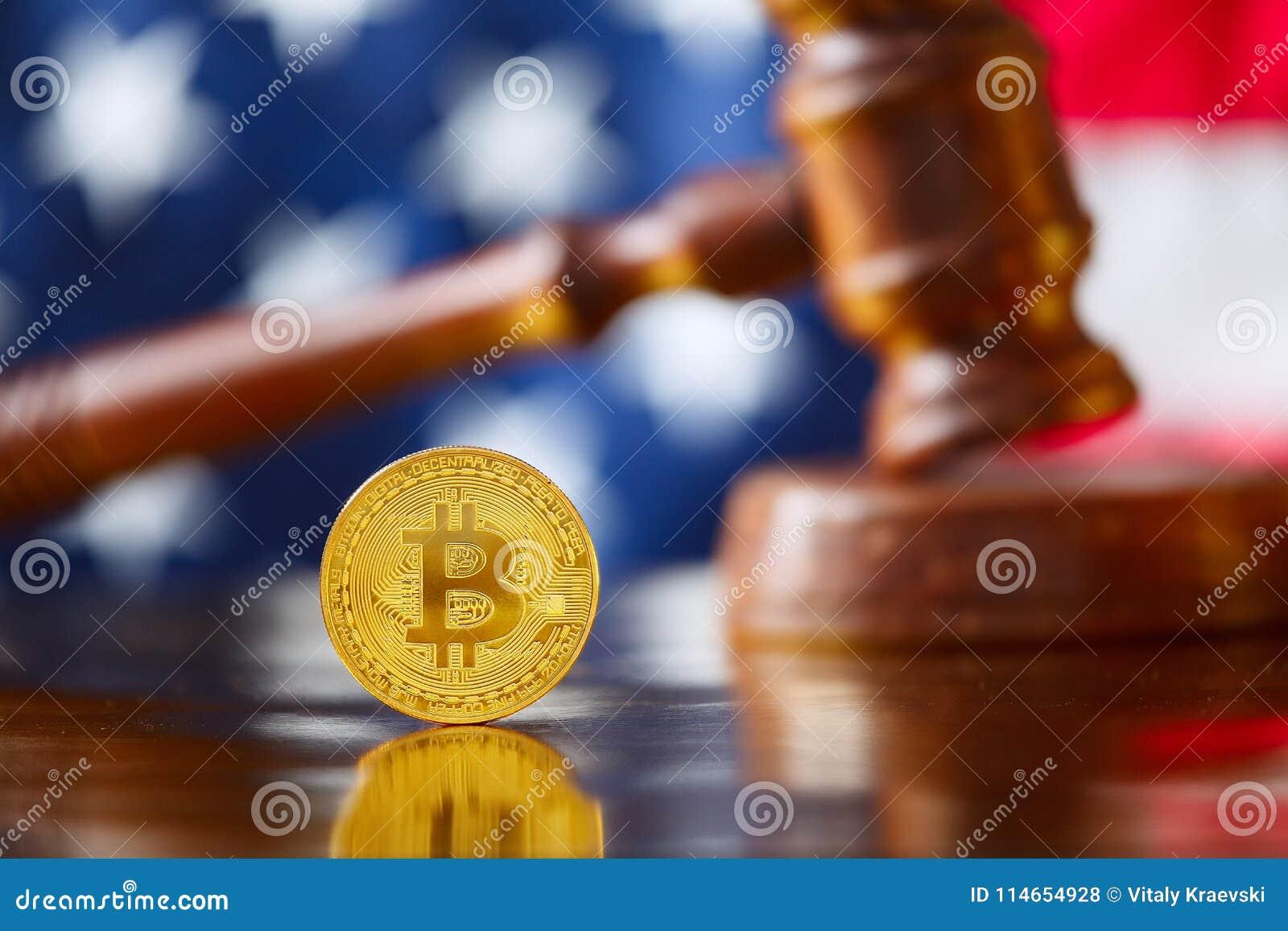 BItcoin i framdel av USA flaggan