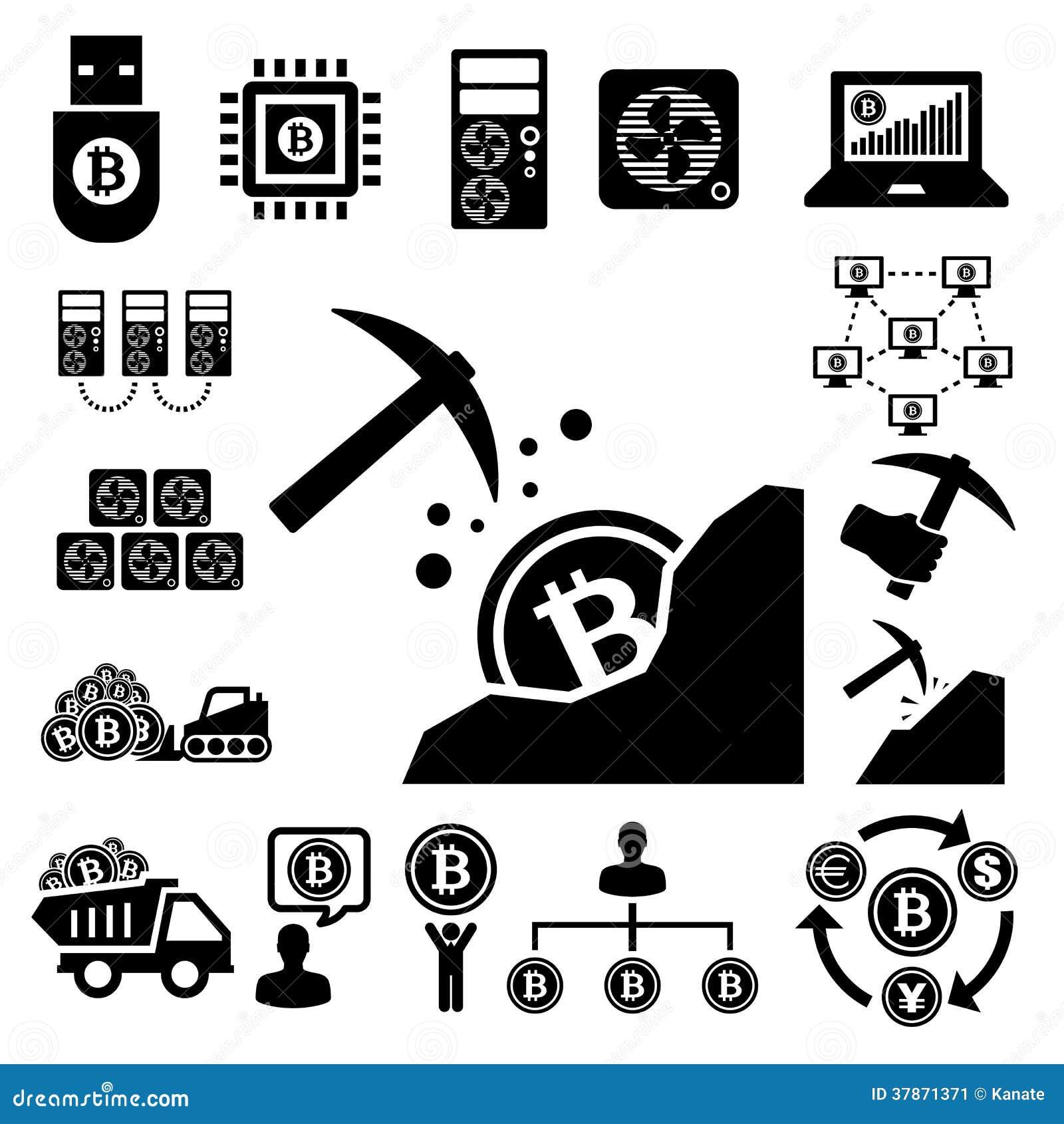 Bitcoin Icons Set Stock Image - Image: 37871371