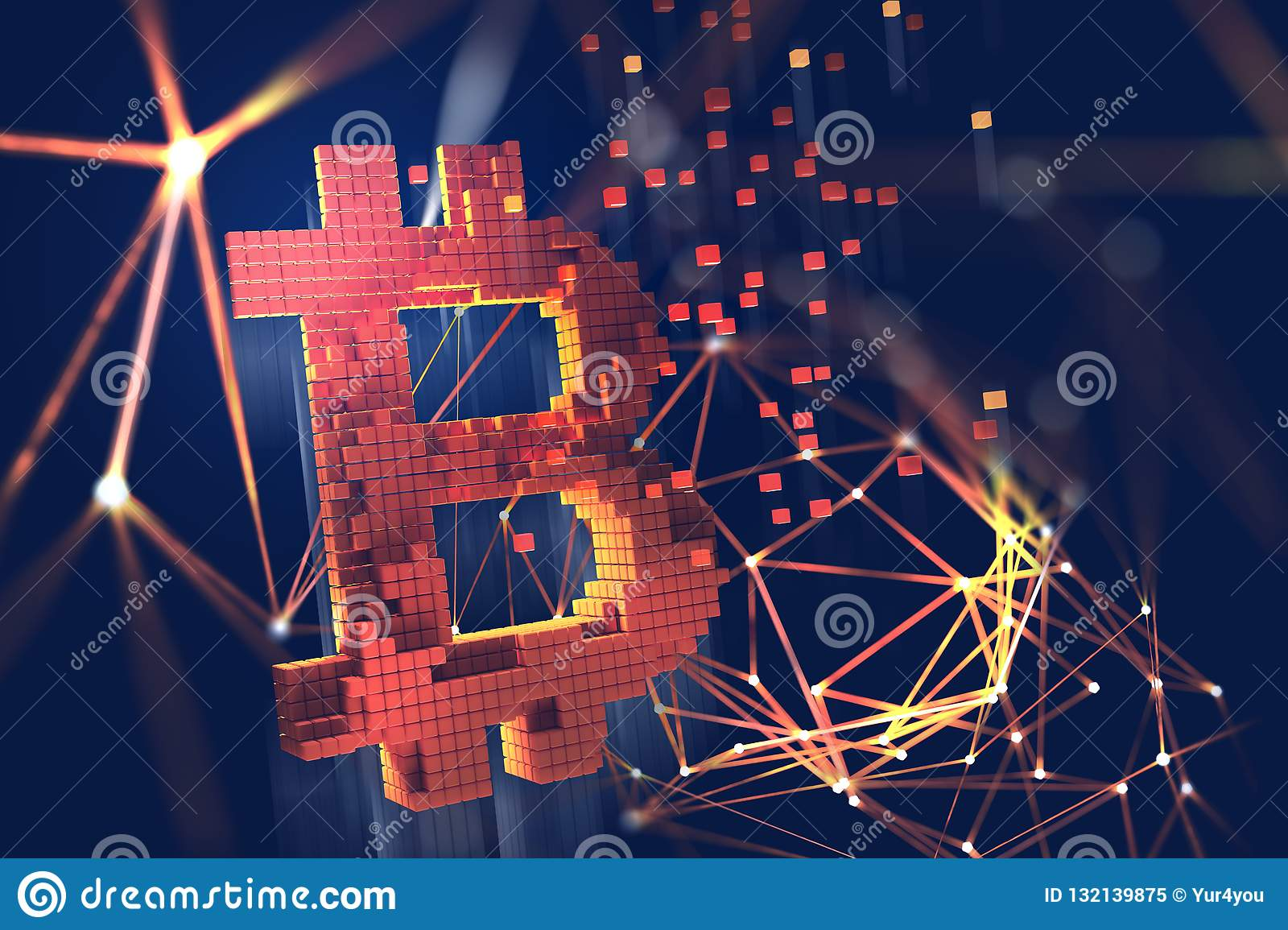Bitcoin Illustration de Blockchain 3D Concept futuriste de cryptocurrency de extraction