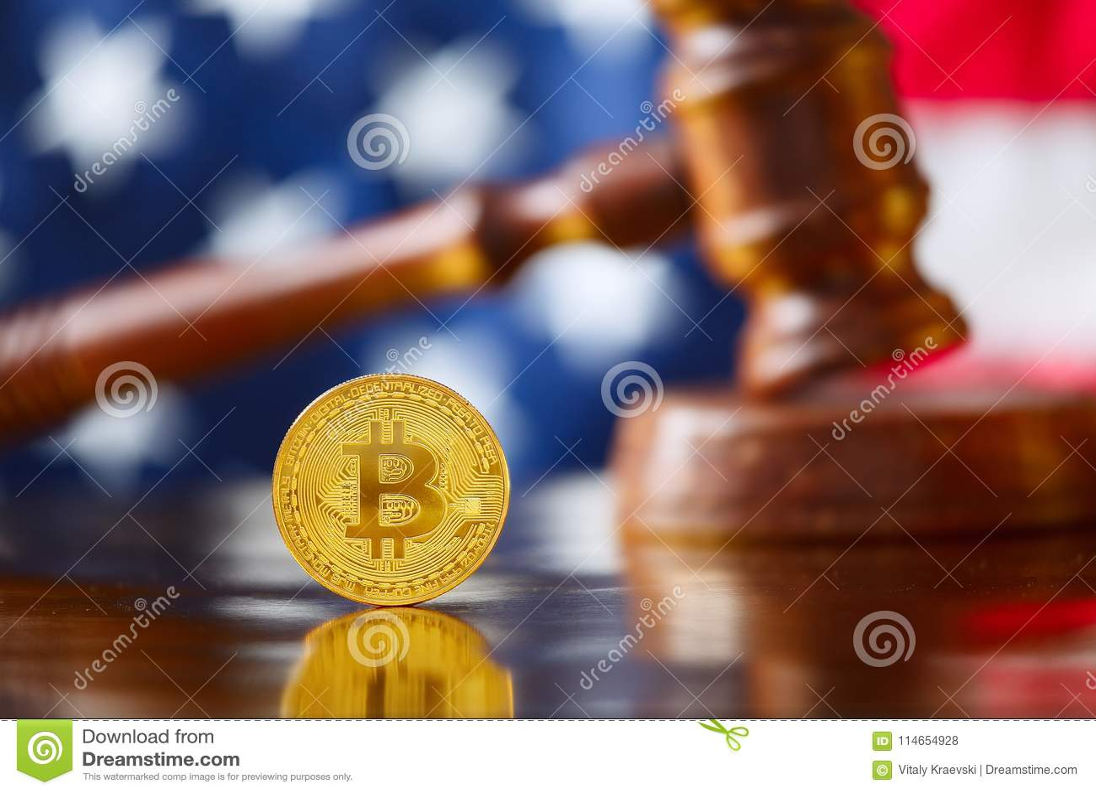 BItcoin infront of USA flag
