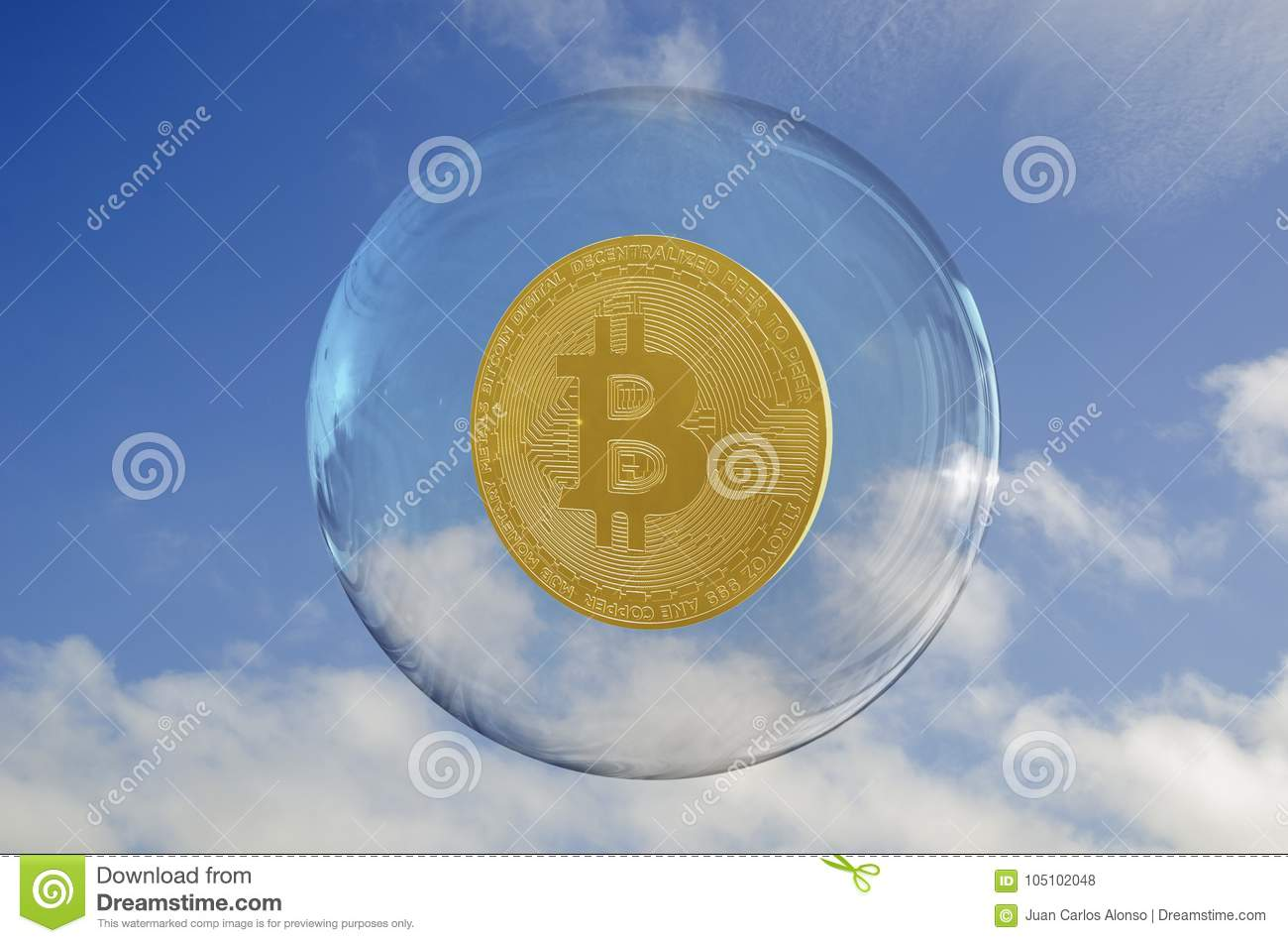 Bitcoin inside a bubble and a sky clouds background.