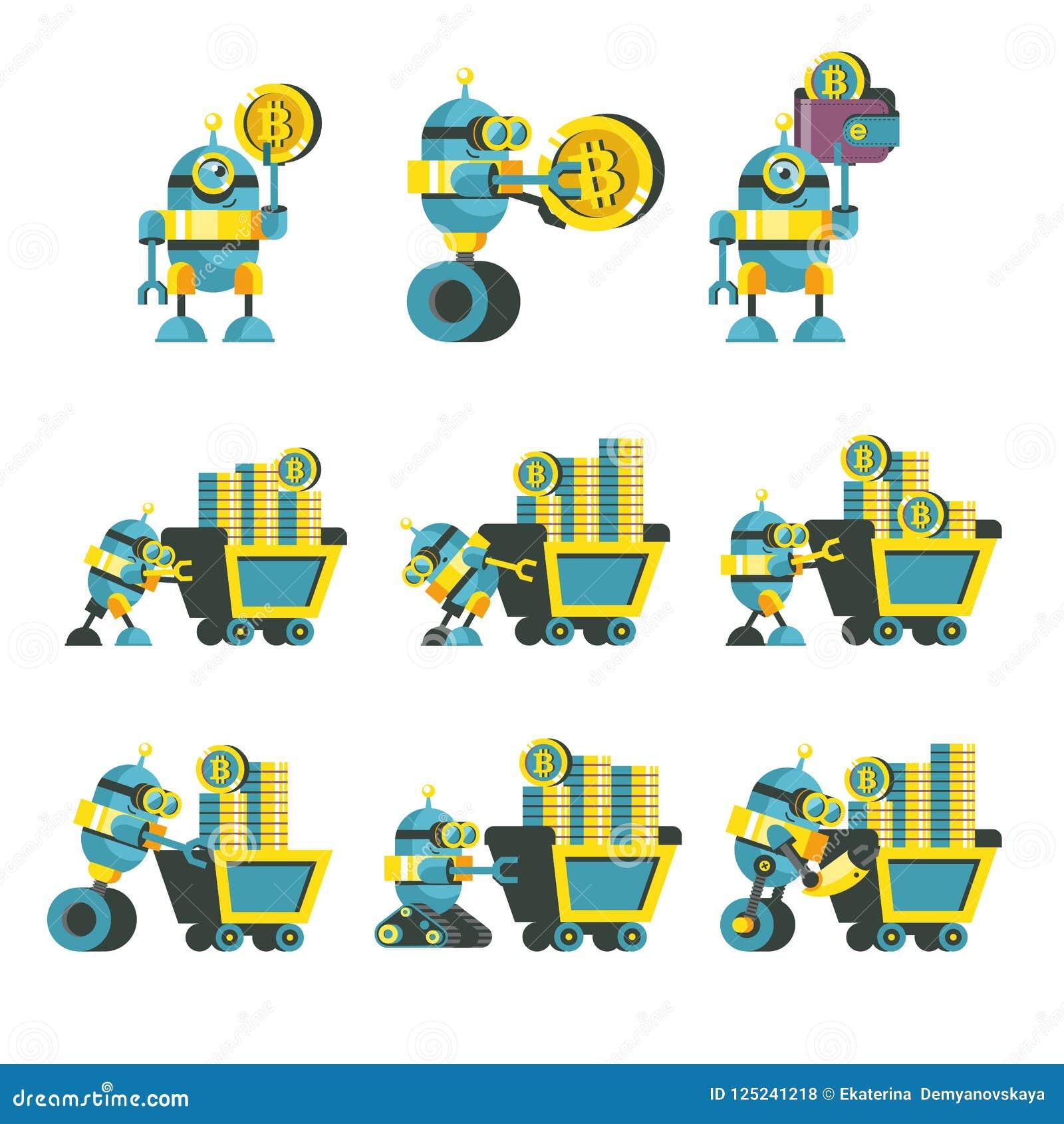 Bitcoin kopalnictwo Śliczny robot produkuje bitcoins Wektorowy Illustratio