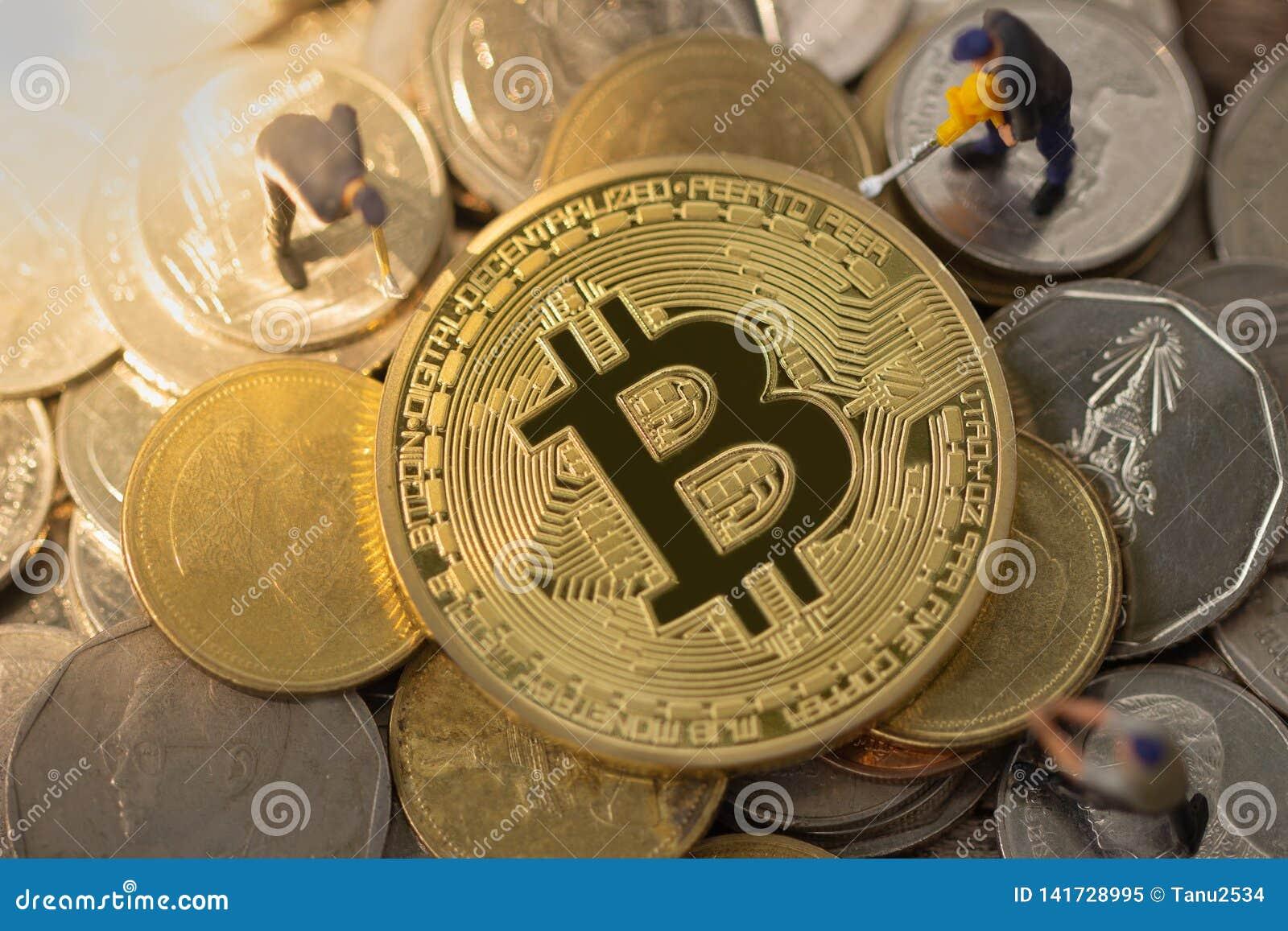 Bitcoin kopalnictwo Cryptocurrency górniczy pojęcie