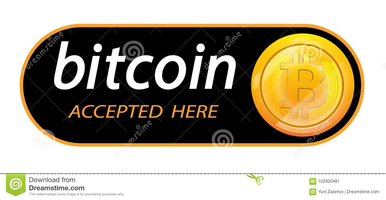 Bitcoin Logo Of Crypto Currency With An Inscription Accepted Here On