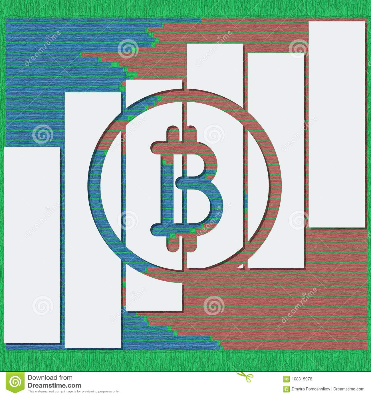 Bitcoin Logotype With Shadows And Lines In Sketch Format  3D