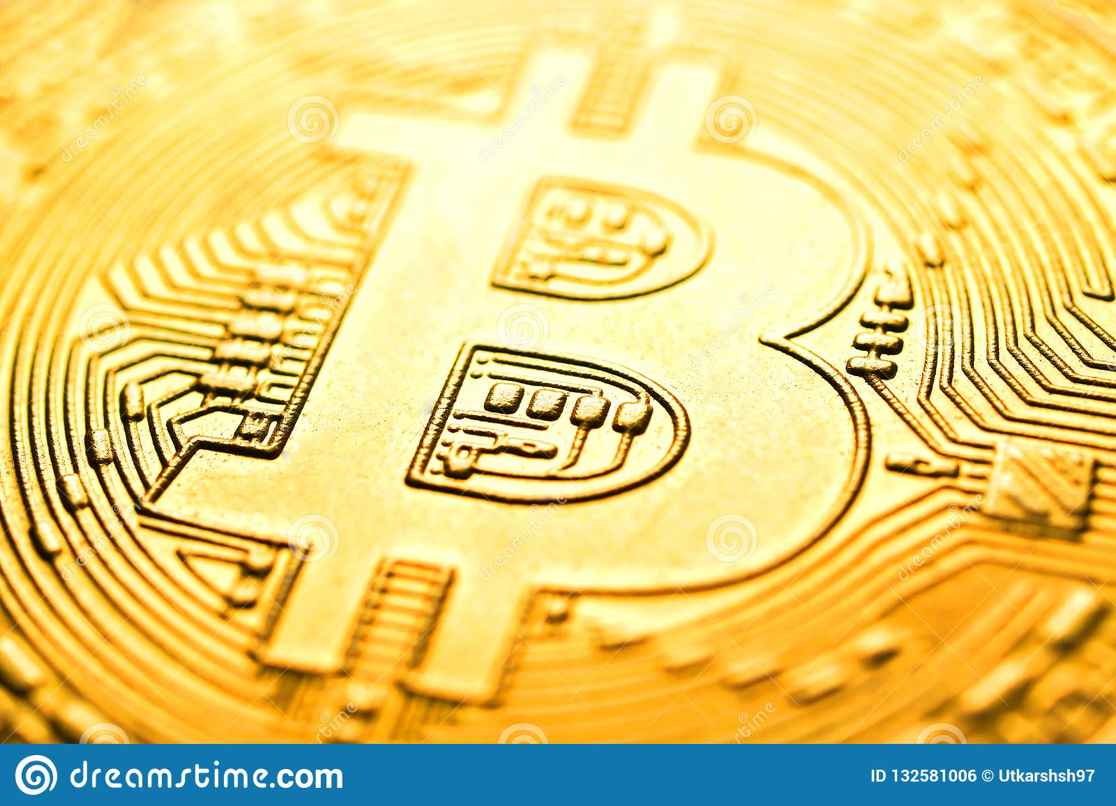 Bitcoin macro image for background , abstract
