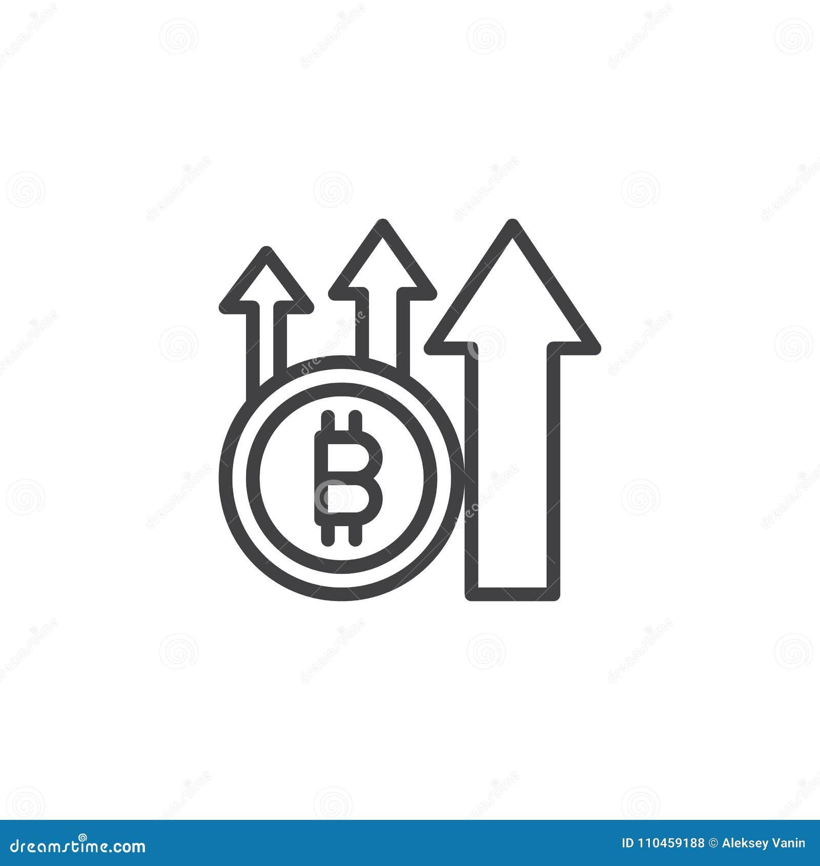 Bitcoin med den övre pilöversiktssymbolen