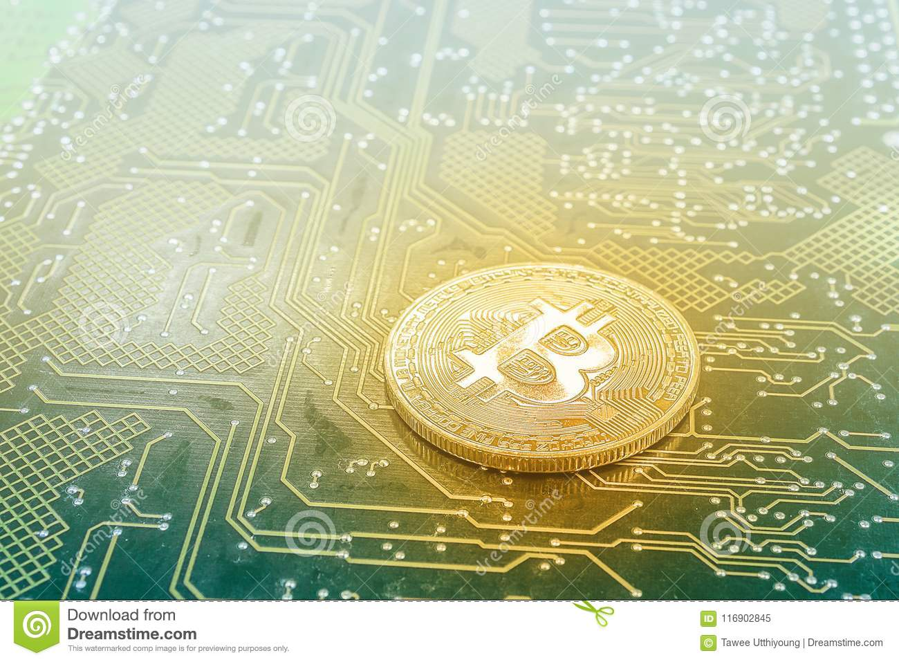 Bitcoin On Printed Circuit Board Stock Image Of Banking Pcb The Printedcircuitboard 3d Royalty Free Photography Medal