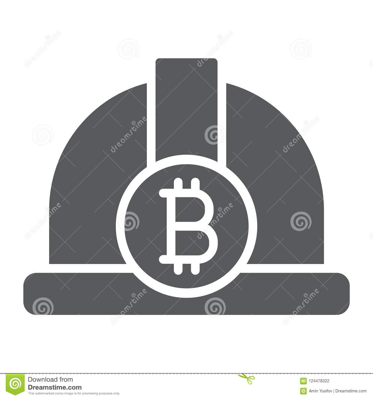Bitcoin Miner Hat Glyph Icon, Finance And Money Stock Vector