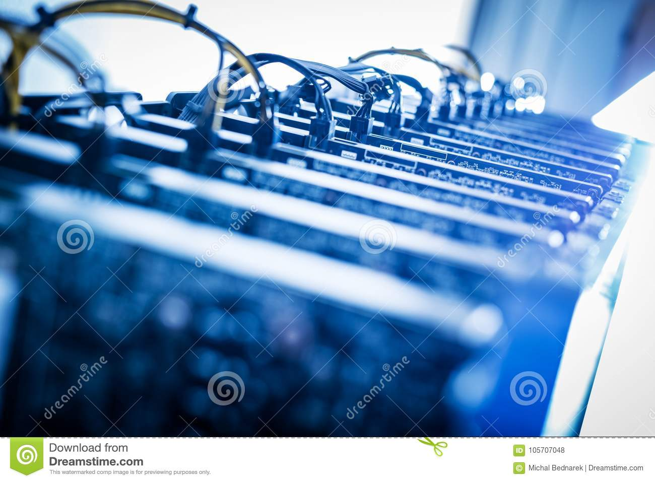 Bitcoin Miners Standing In A Row  Stock Photo - Image of mining