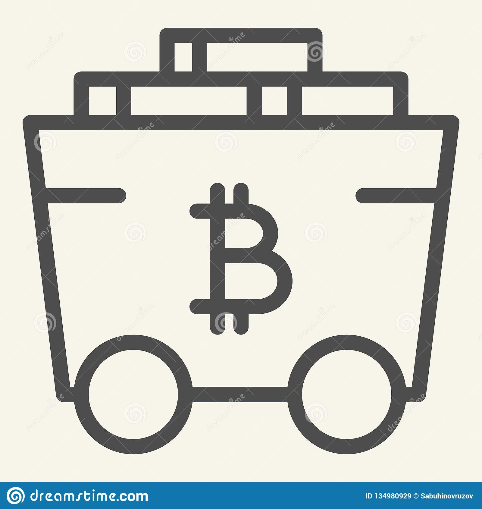 Bitcoin Mining Cart Line Icon  Crypto Carriage Vector Illustration