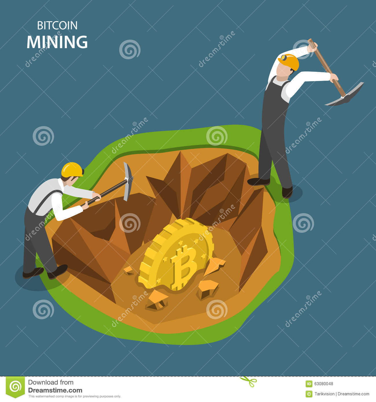 Bitcoin Mining Isometric Flat Vector Concept. Stock Vector ...