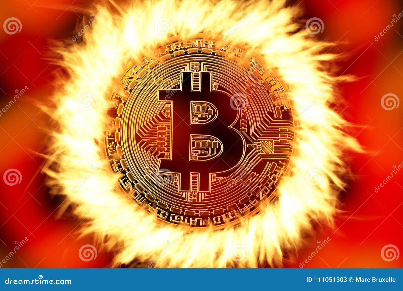 Bitcoin moneta na ogieniu
