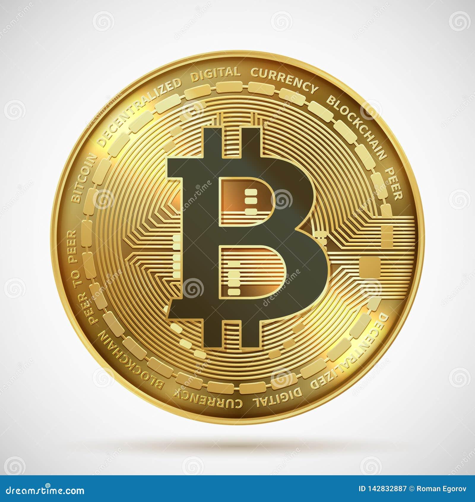 Bitcoin mynt Symbol för blockchain Cryptocurrency för guld- pengar som digitalt isoleras på vit Crypto mynt för vektor