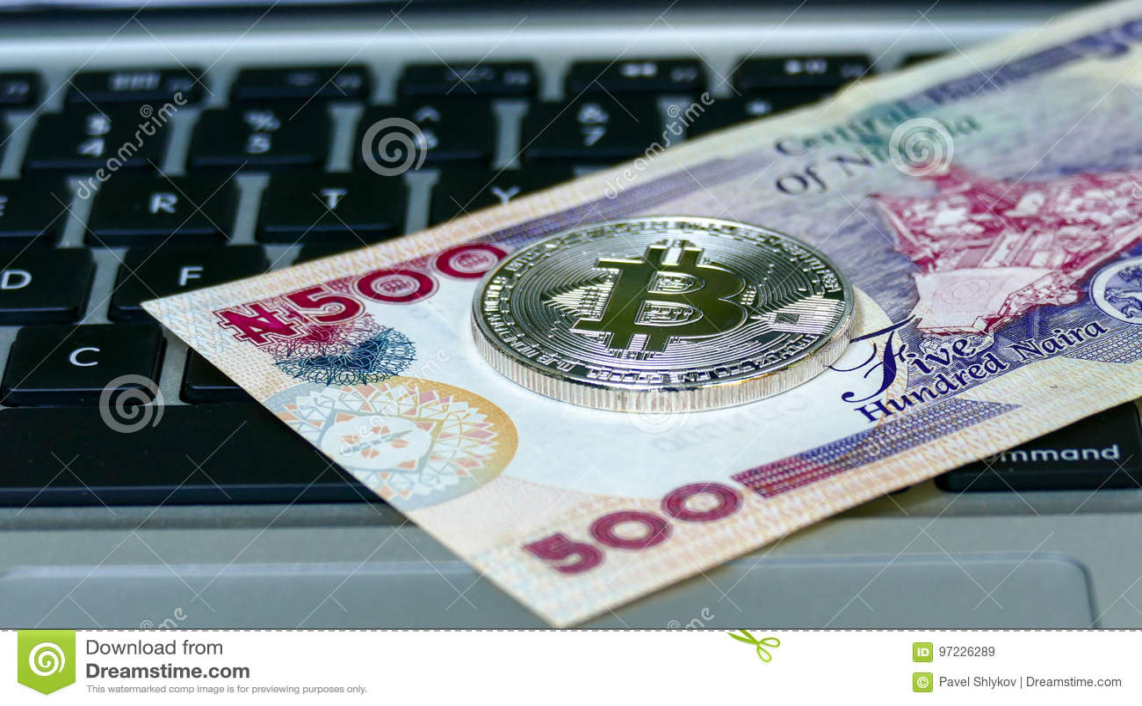 Download Bitcoin on naira bills. stock image. Image of naira, finance - 97226289