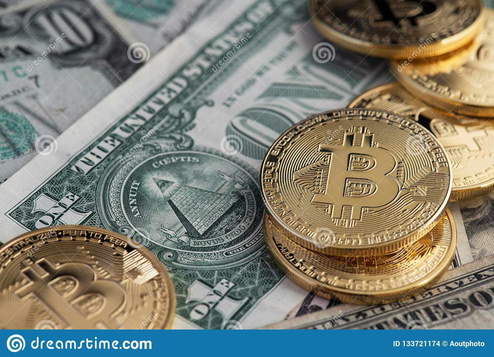 Bitcoin new virtual money and banknotes of one dollar. Exchange bitcoin for a dollar.