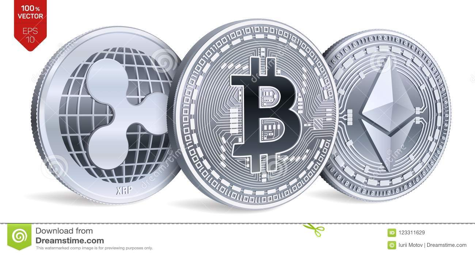 Bitcoin ondulación Ethereum monedas físicas isométricas 3D Moneda de Digitaces Cryptocurrency Monedas de plata con el bitcoin, on
