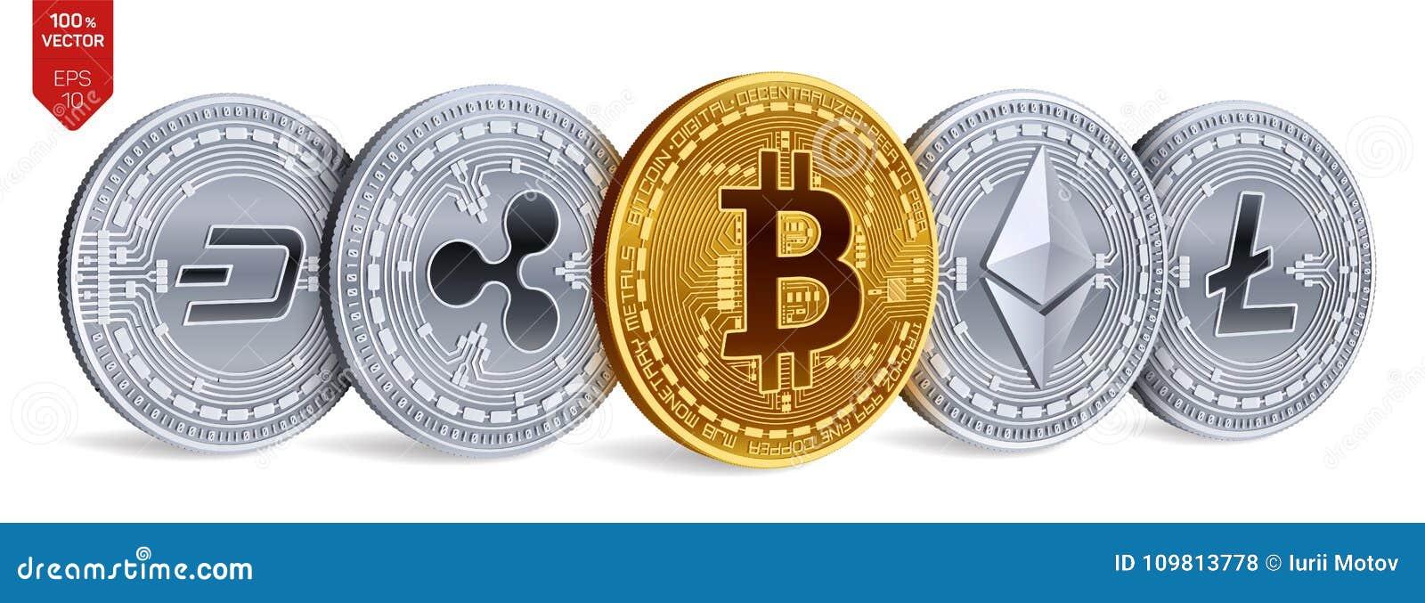 Bitcoin ondulation Ethereum dash Litecoin pièces de monnaie 3D physiques isométriques Crypto devise Pièces d or et en argent avec