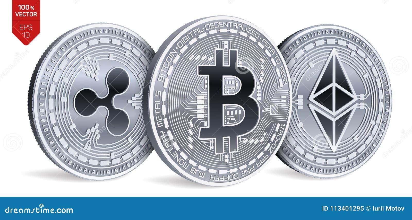Bitcoin ondulation Ethereum pièces de monnaie 3D physiques isométriques Devise de Digital Cryptocurrency Pièces en argent avec le