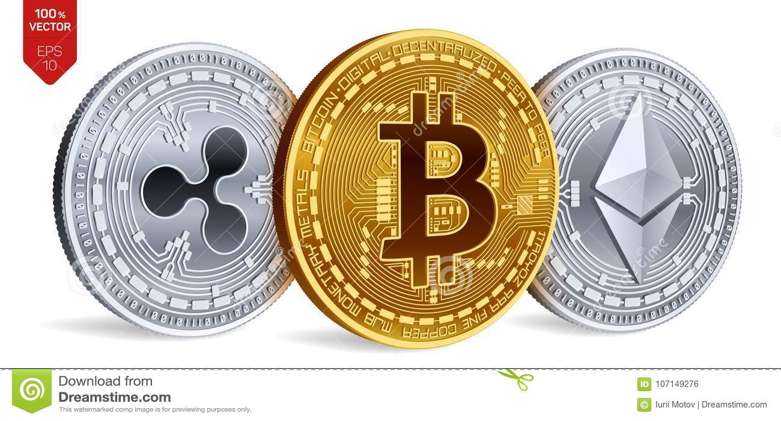 Bitcoin ondulation Ethereum pièces de monnaie 3D physiques isométriques Devise de Digital Cryptocurrency Illustration de vecteur