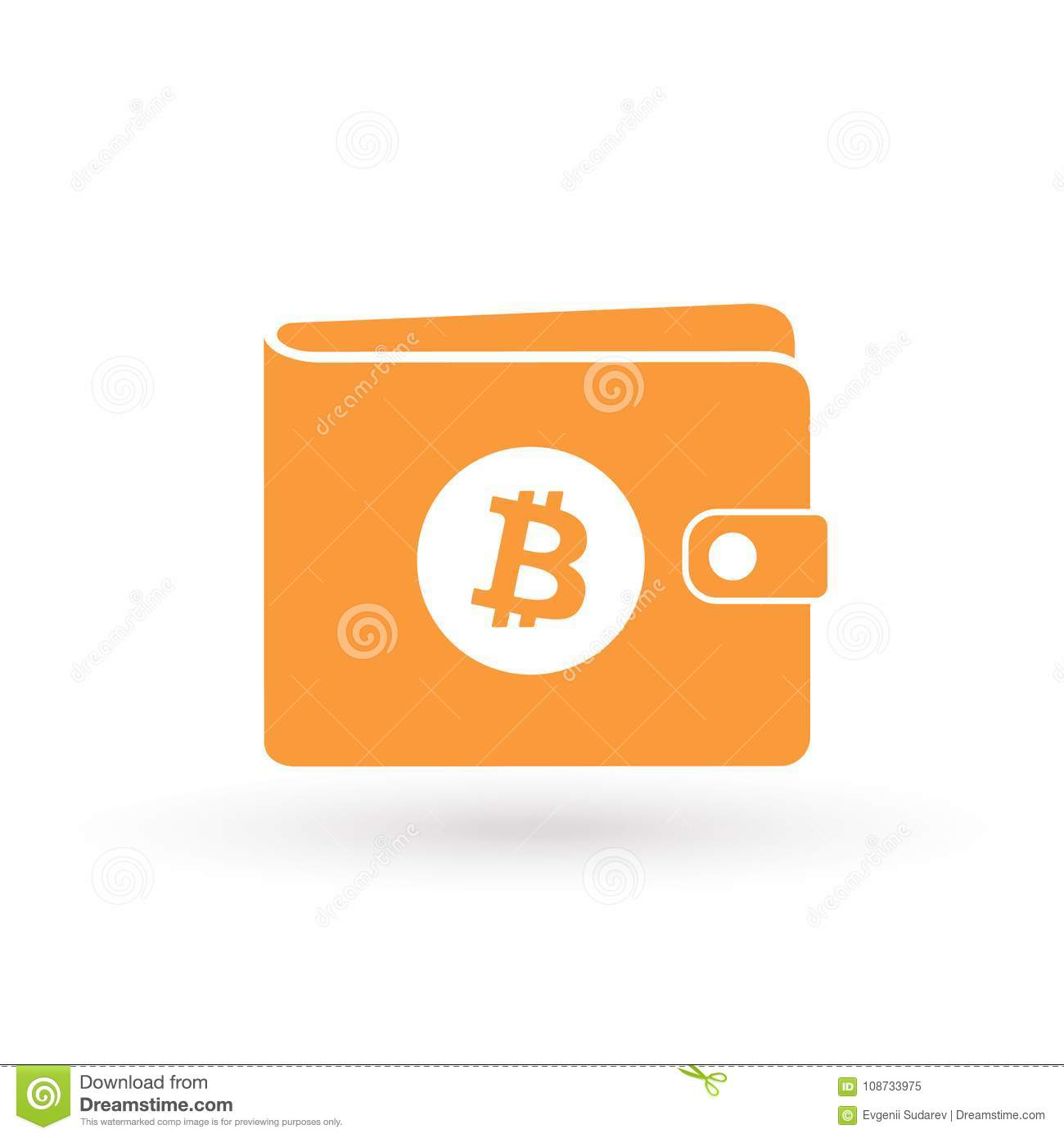 Download Bitcoin Orange Wallet Icon With Cryptocurrency Blockchain Logo Stock Vector