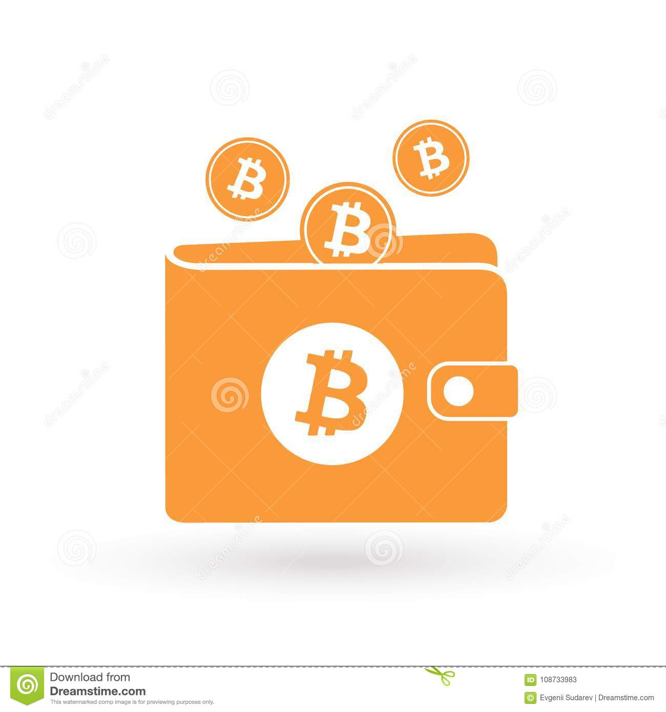 Download Bitcoin Orange Wallet With Logo And Falling Coins Sign Stock Vector