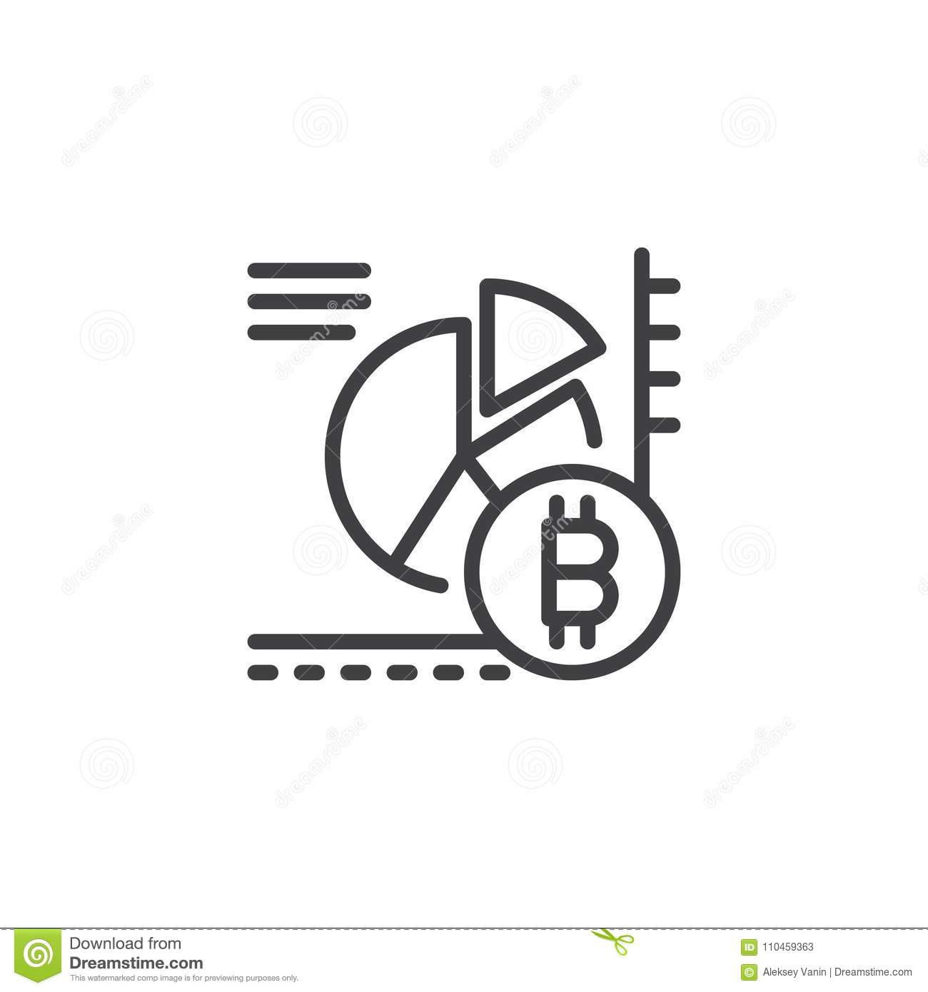 Bitcoin pie chart outline icon