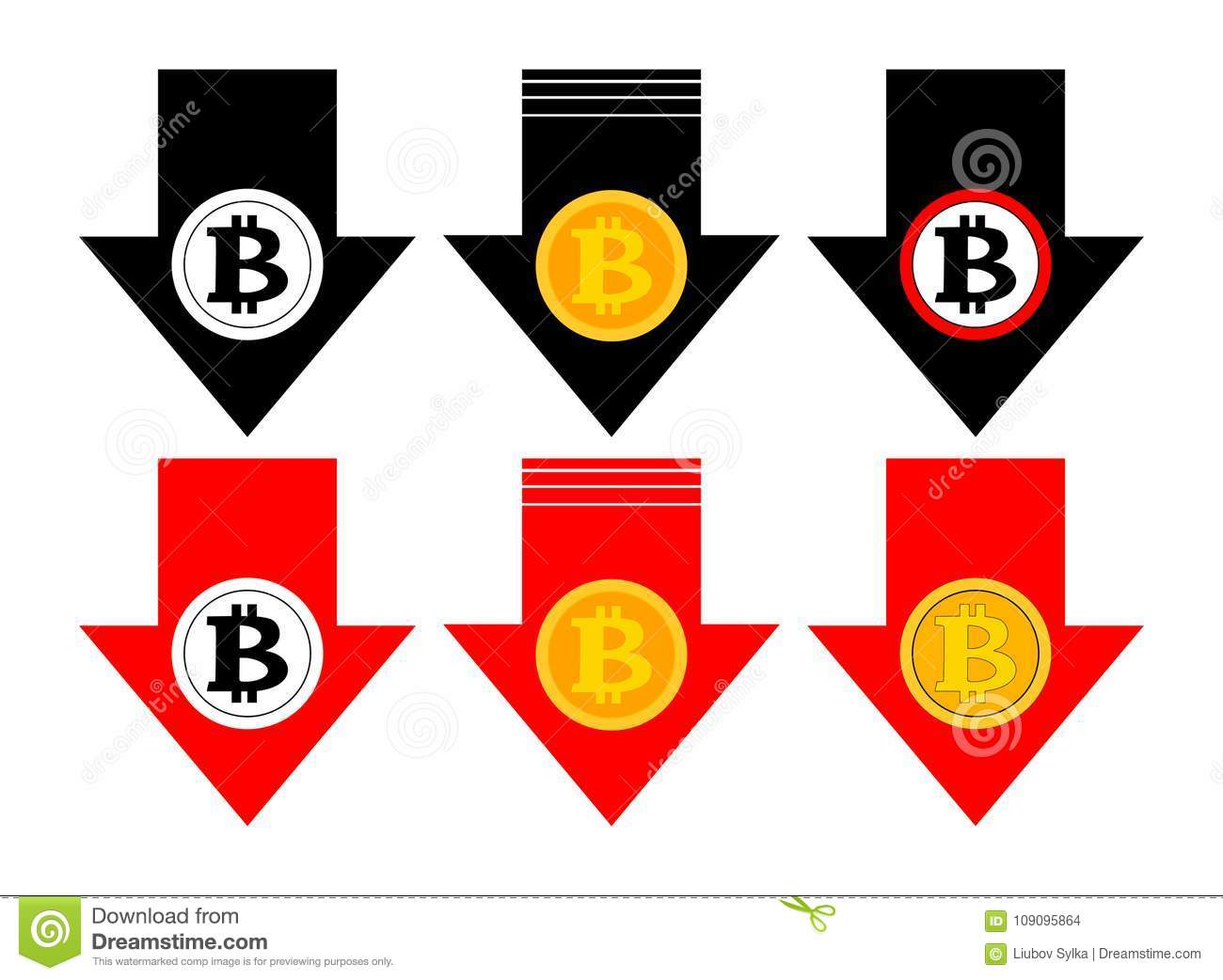 Bitcoin rate falling color icon. Cryptocurrency with down arrow. Bit coin collapse Falls Down. Vector Illustration.