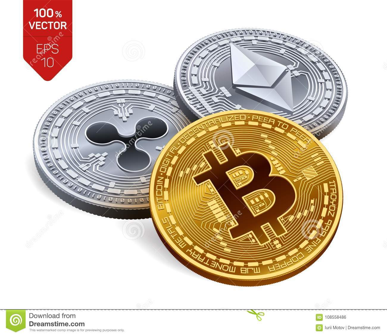 Bitcoin Ripple Ethereum 3D Isometric Physical Coins Digital Currency Crypto Silver And Golden With Symbol