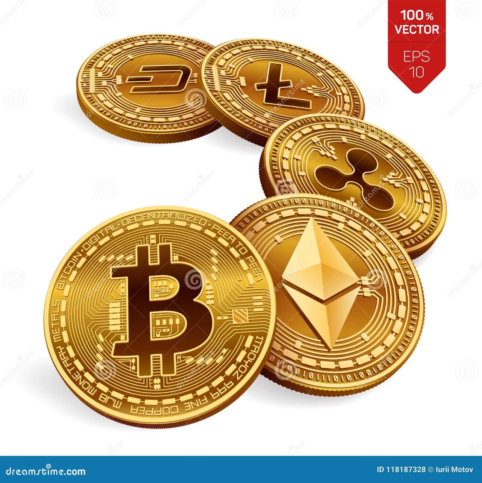 Bitcoin  Ripple  Ethereum  Dash  Litecoin  3D Isometric