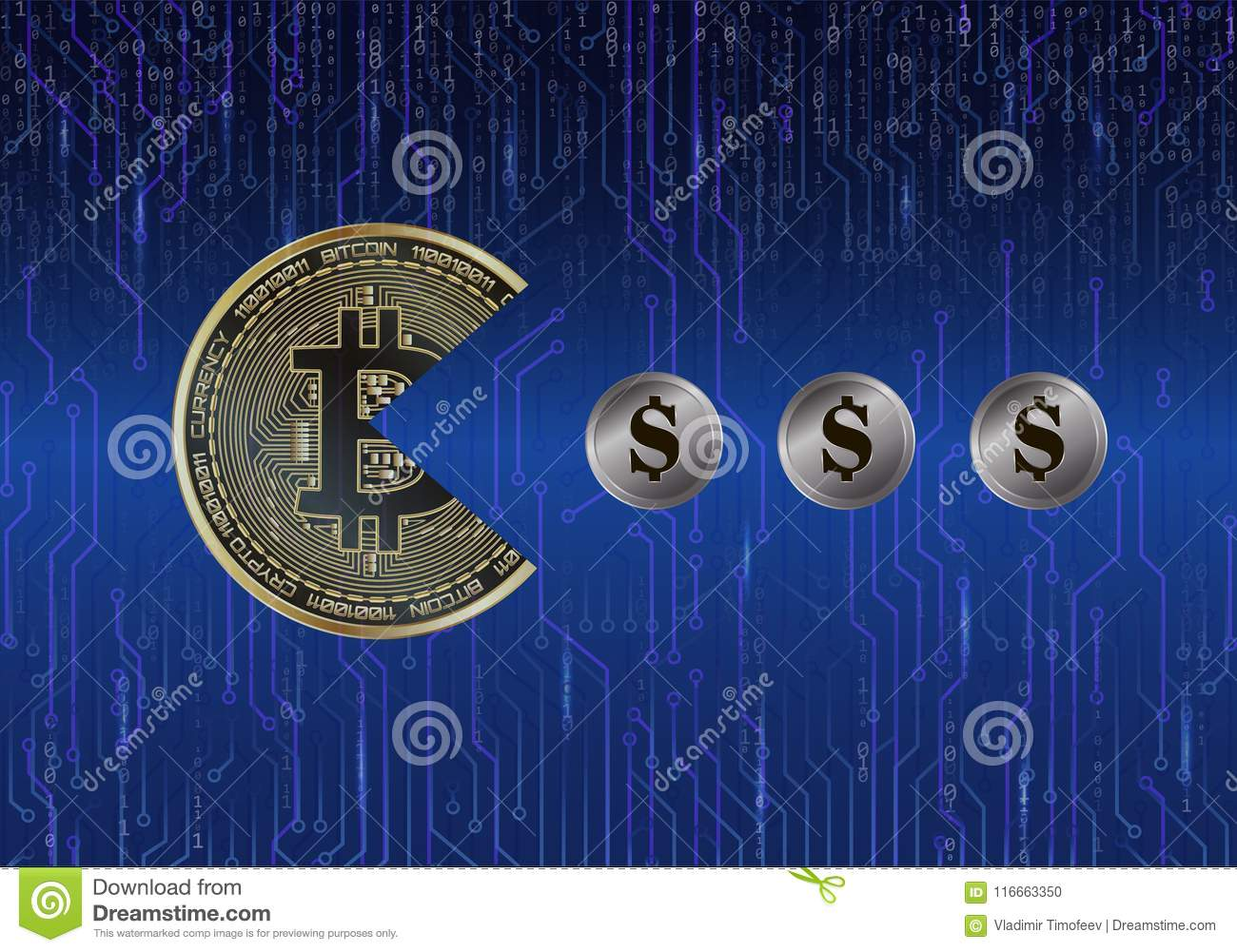 Bitcoin In The Shape Of Pac Man Eats Coins Dollars On Background Circuit Board Free Stock Photo Hd Public Domain Pictures And