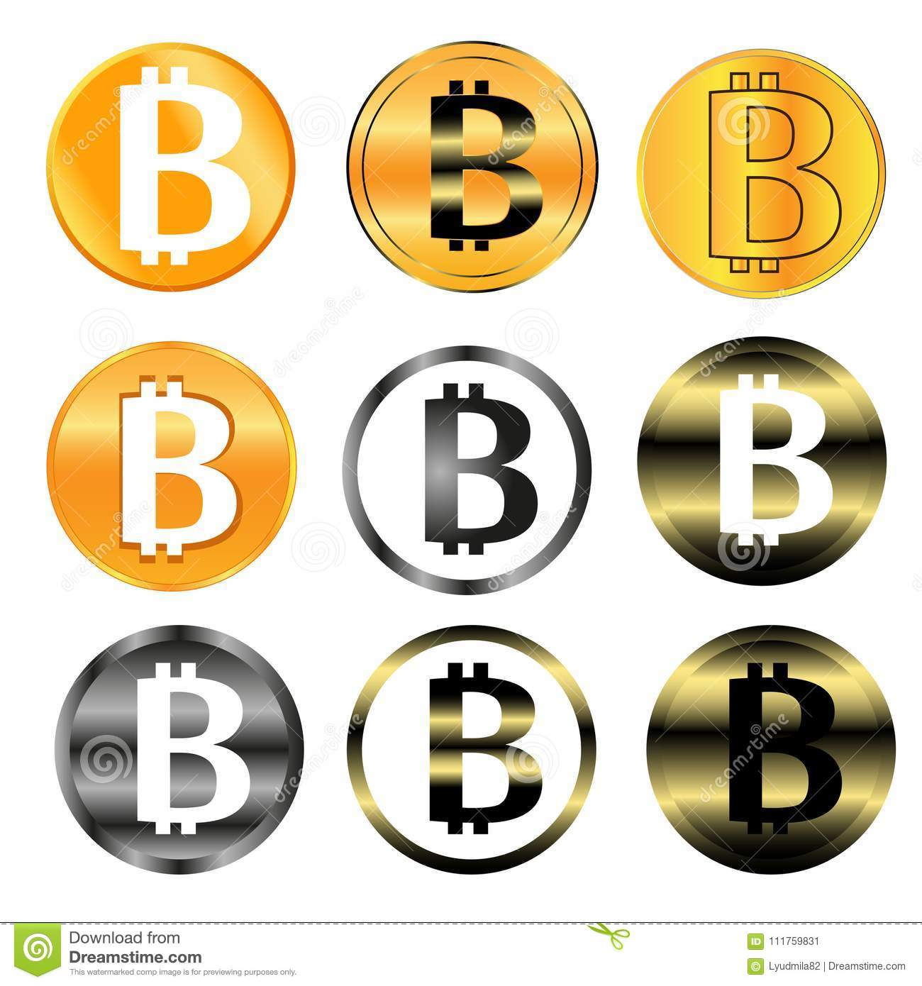 Bitcoin Sign Icon For Internet Money Crypto Currency Symbol And
