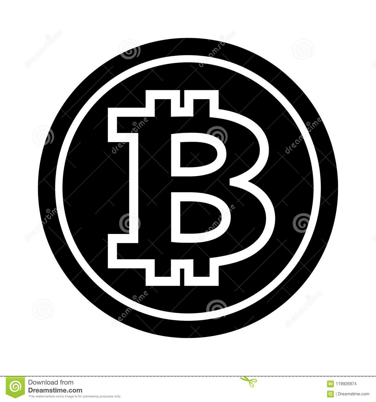 Bitcoin Silhouette Vector Illustration Isolated On White ...