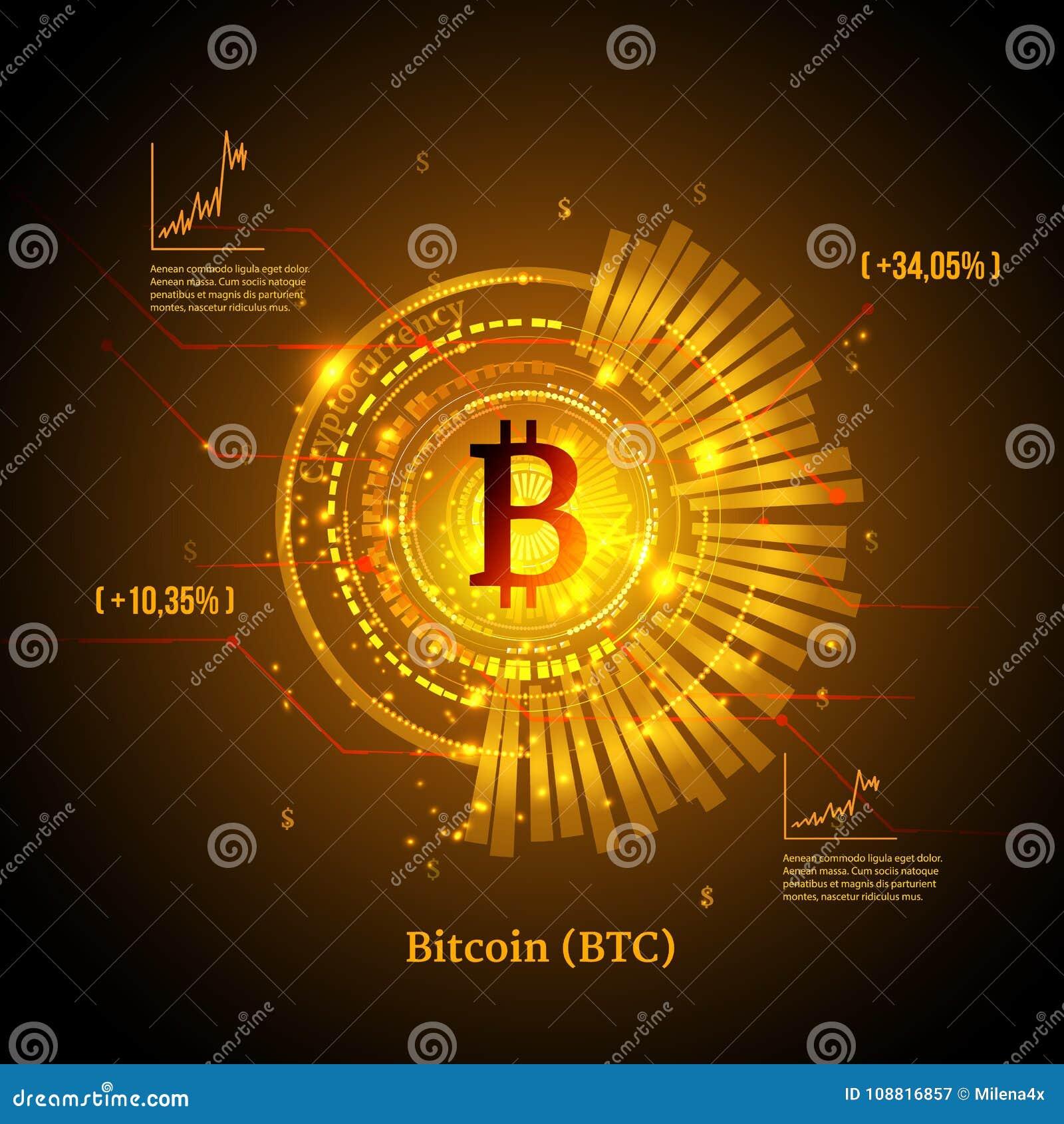 Bitcoin symbol och prisdiagram Cryptocurrency begrepp Futuristisk vektordesign