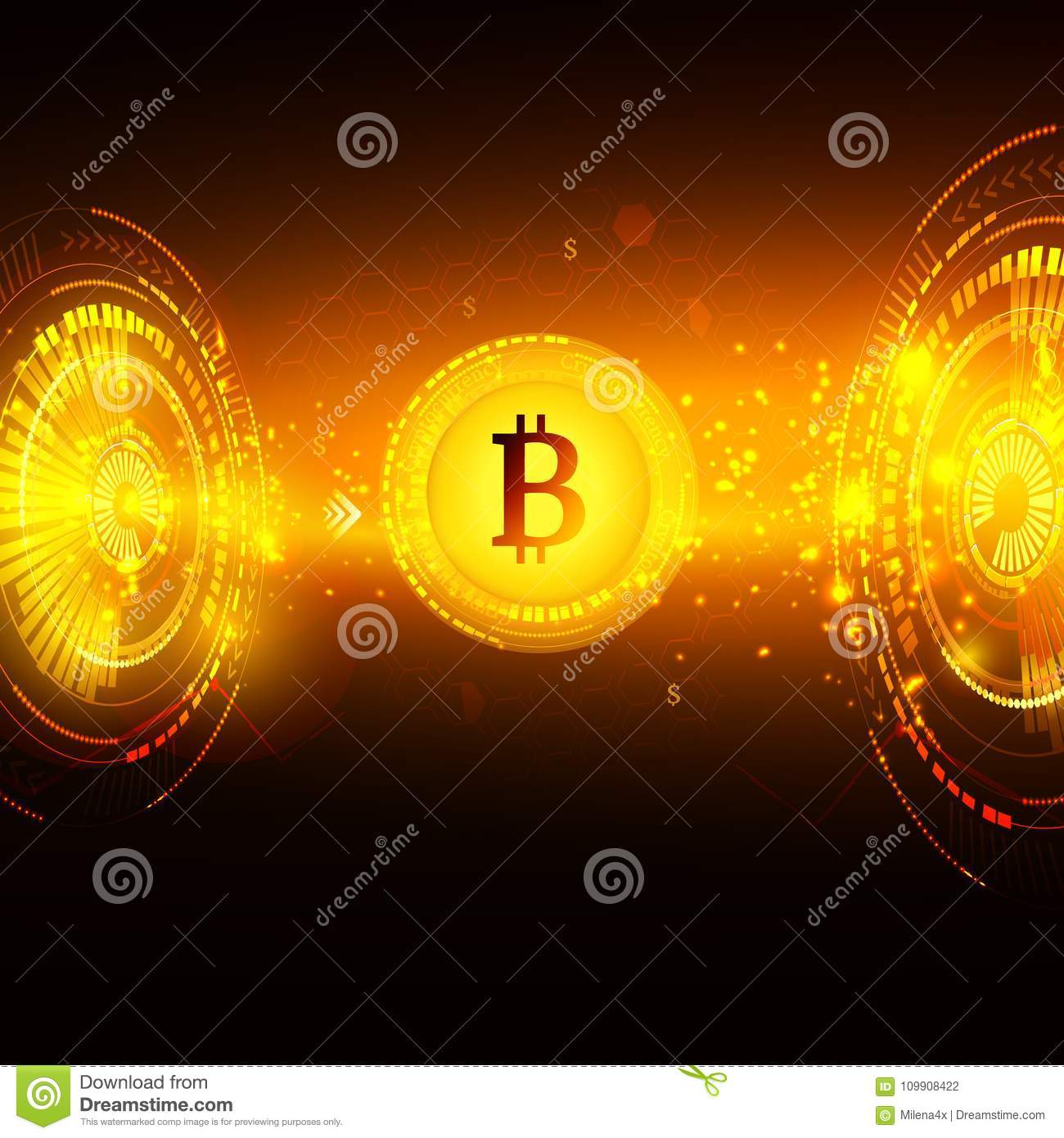 Bitcoin Symbol And Price Chart. Cryptocurrency Concept ...