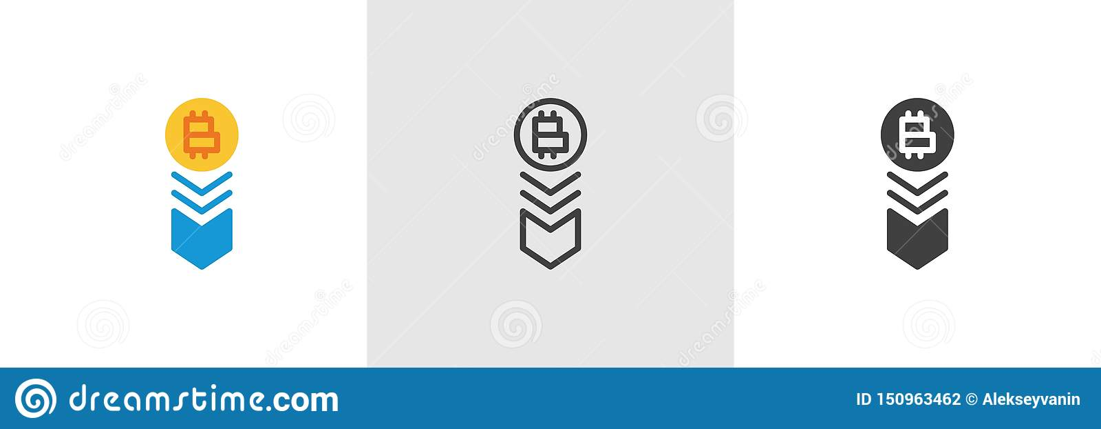 Bitcoin tempo spada puszek ikona