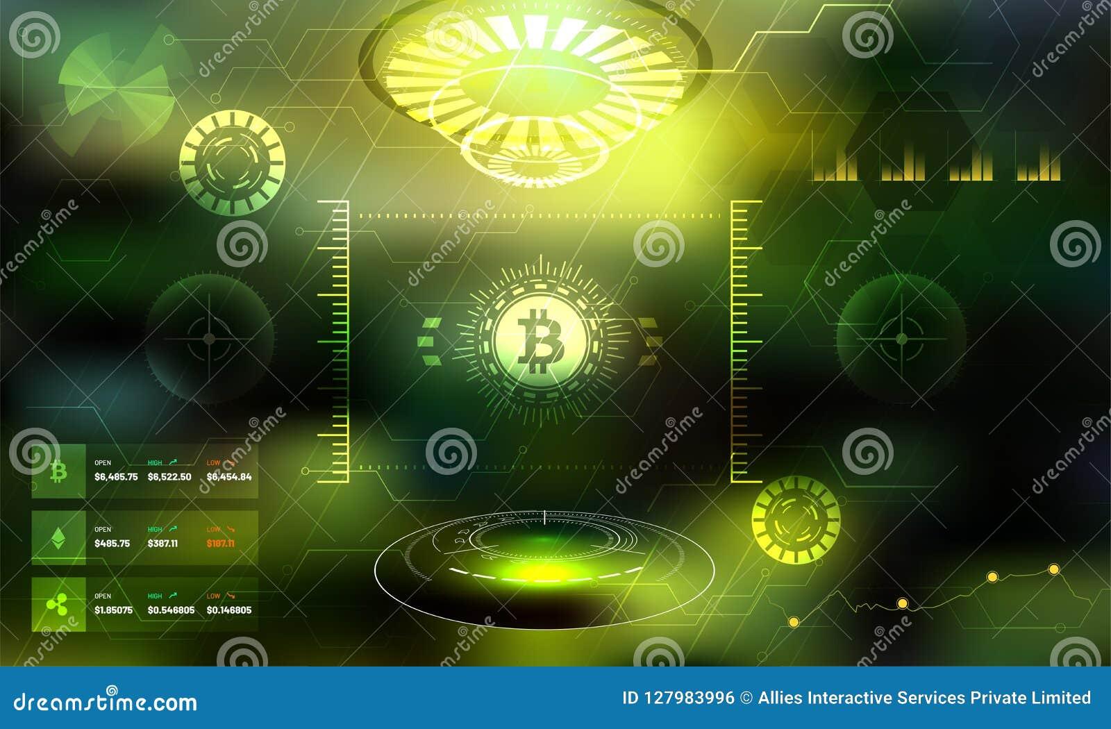 Bitcoin Trading Sci-fi User Interface HUD Background