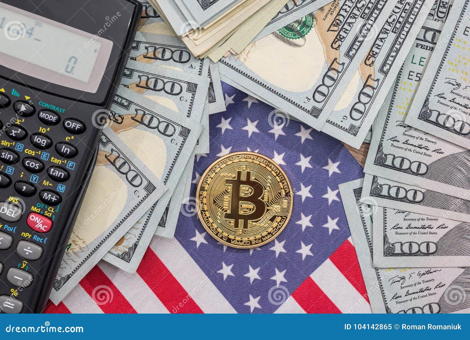 bitcoin, us flag, calculator and dollar