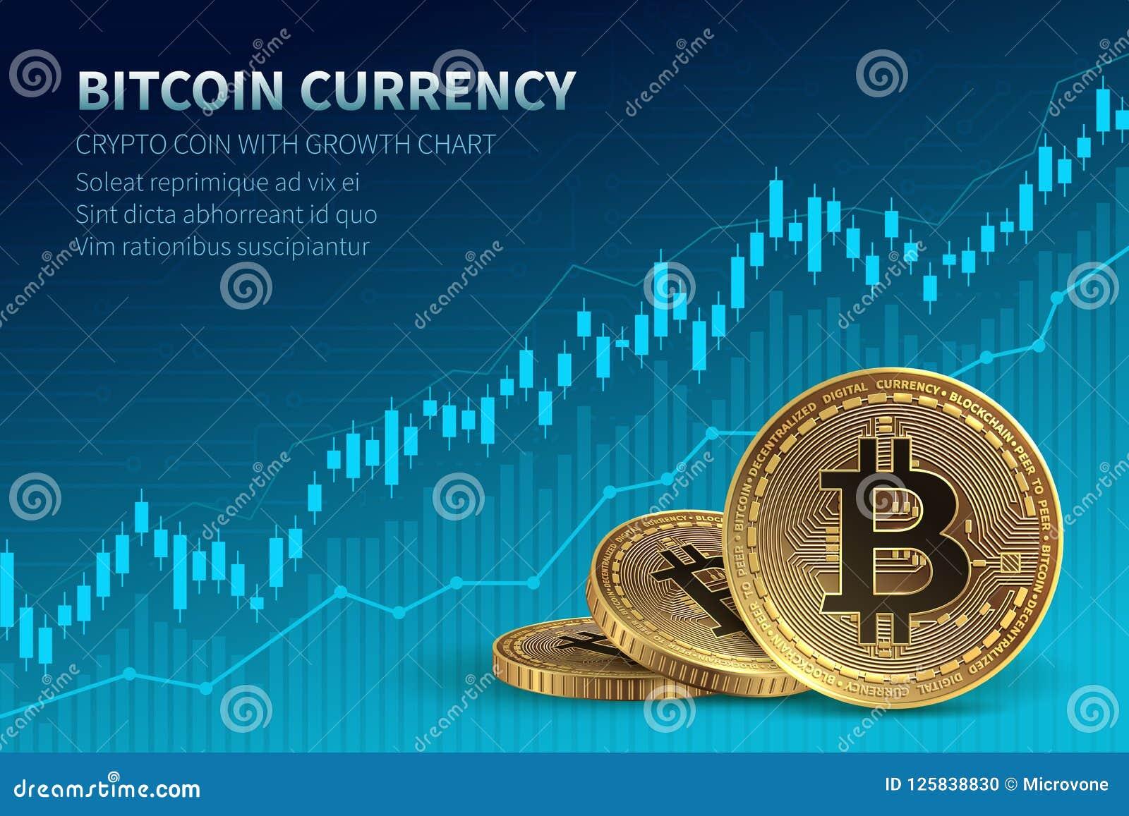 Bitcoin valuta Crypto mynt med tillväxtdiagrammet Internationell börs Baner för vektor för nätverksbitcoinmarknadsföring