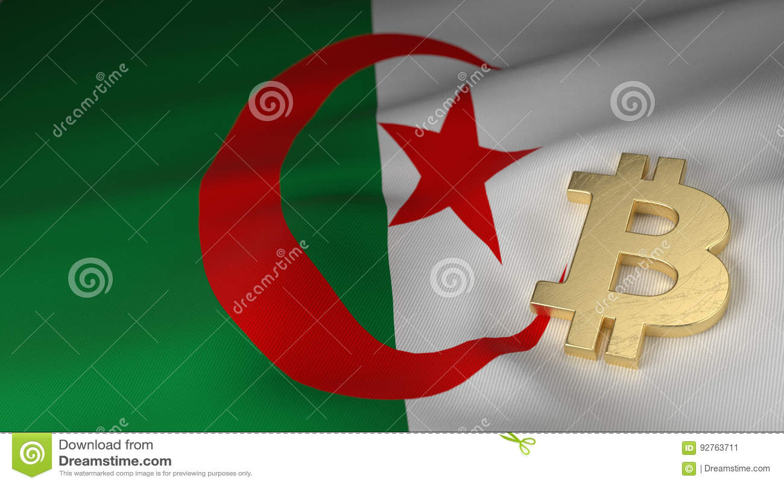 Bitcoin valutasymbol på flagga av Algeriet
