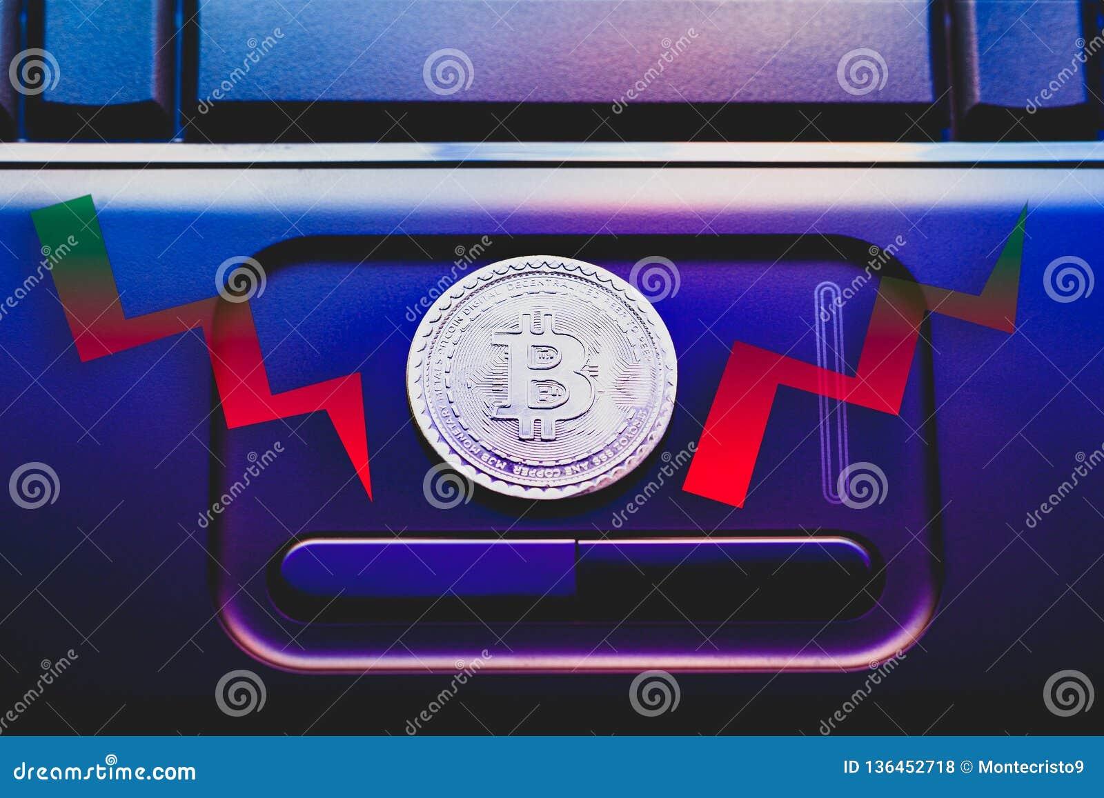 Bitcoin virtuel de pièce de monnaie d argent diagrammes rouges et verts de bourse des valeurs