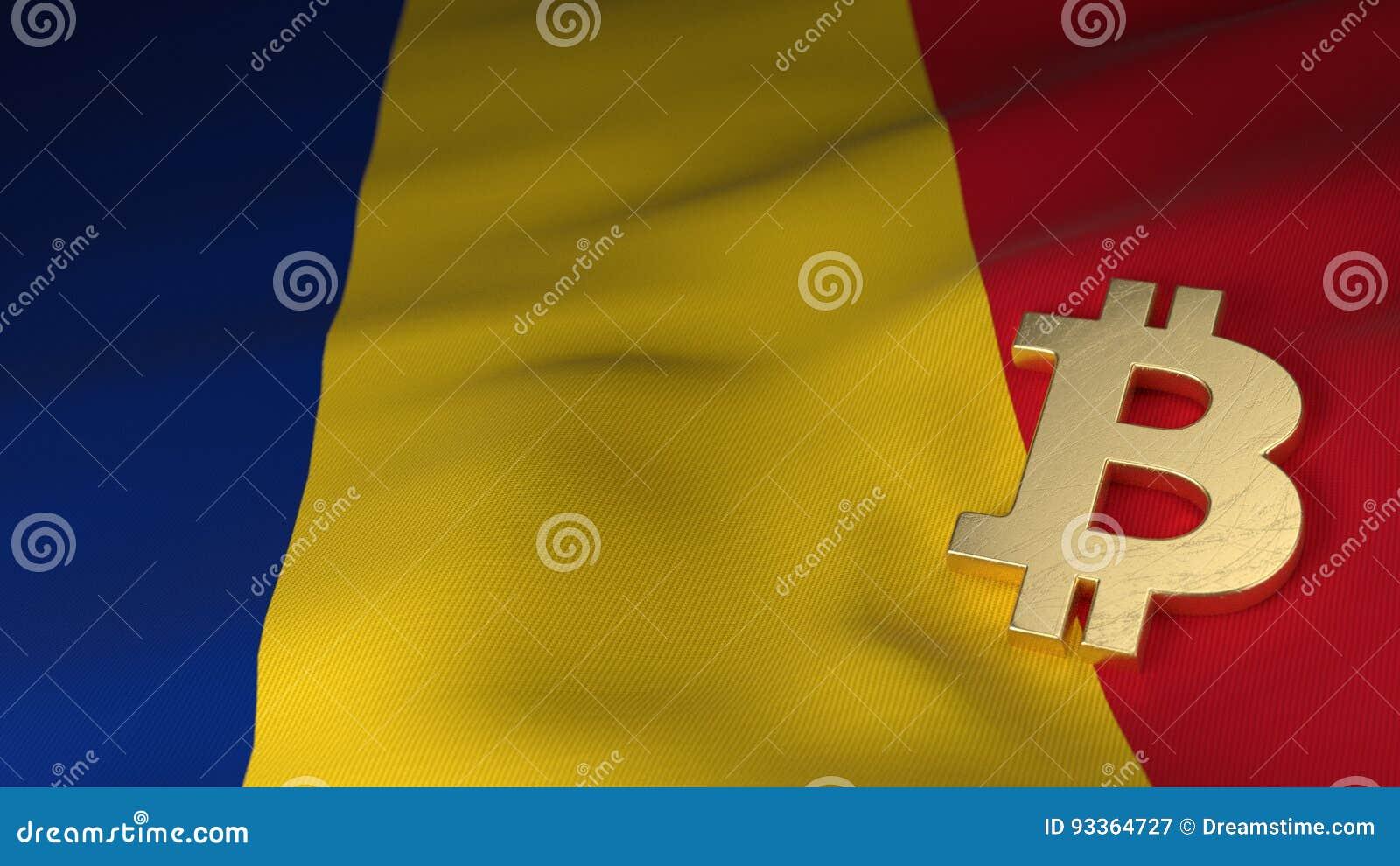 Bitcoin-Währungszeichen auf Flagge von Rumänien